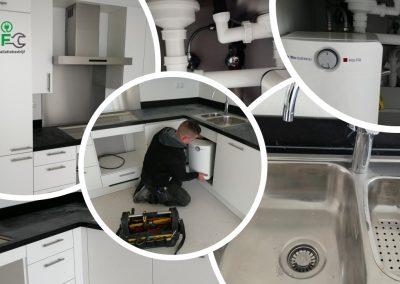 Installatie warm water voorziening in de keuken